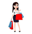 business woman with brown hair cartoon character vector image