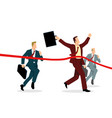 businessmen crossing finish line vector image