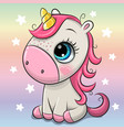 cartoon unicorn isolated on a rainbow background vector image vector image