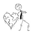 conceptual cartoon of business man having heart vector image