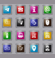 contact us glass icons set vector image