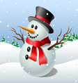 Cute cartoon snowman vector image