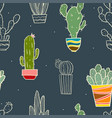 cute seamless cactus pattern vector image vector image