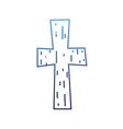 degraded outline religion wood cross catholic vector image