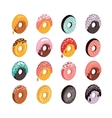 Delicious donut icon set Sweet dessert flat vector image