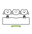 dental bridge - cartoon outline style vector image vector image