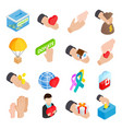Donate given isometric 3d icons vector image vector image