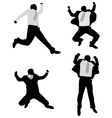 excited businessmen jump vector image