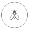 fly black icon in circle outline vector image vector image