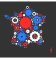 France map silhouette mosaic of cogs and gears vector image vector image