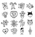 funky cartoon icons vector image