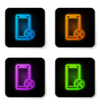 glowing neon smartphone with screwdriver and vector image vector image