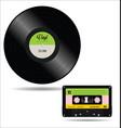 gramophone vinyl lp record music cassette cassette vector image vector image