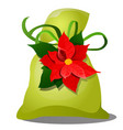 green pouch with a gift for christmas or new year vector image vector image