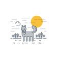 Grey wolf outdoor simple cartoon vector image