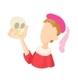 Hamlet actor icon in cartoon style vector image