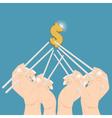 hand chopsticks for money vector image vector image
