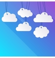 hanging paper clouds vector image vector image