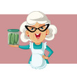 happy grandmother holding a jar pickles vector image vector image