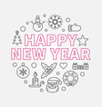 happy new year round concept line vector image