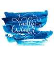 hello winter text on blue abstract background with vector image vector image