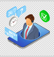 isometric online customer support vector image vector image