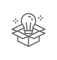 light bulb in box innovation creative idea line vector image