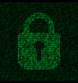 Locked padlock on binary code background