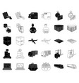 logistics and delivery blackoutline icons in set vector image vector image