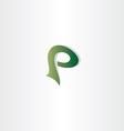 logotype p letter p logo icon green symbol vector image vector image