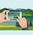 man taking photos of nature landscape vector image vector image