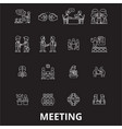 meeting editable line icons set on black vector image vector image