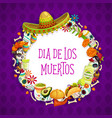 mexican day dead signs lettering and frame vector image vector image
