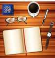 Notebook on table with other accessories vector image vector image