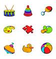 playschool icons set cartoon style vector image vector image