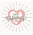 Retro Valentine day card vith line heart icon vector image