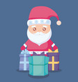 santa claus with gift boxes presents vector image