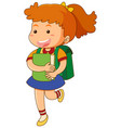 school girl with book and schoolbag vector image vector image
