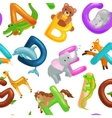 seamless animals alphabet pattern for kids abc vector image vector image