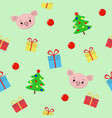 seamless christmas pattern with gifts cute pig vector image vector image