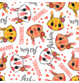 seamless pattern with cute squirrel face vector image