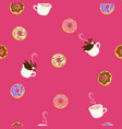 seamless pattern with donuts and coffee graphics vector image