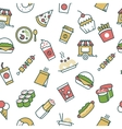 seamless pattern with fast food line icons vector image vector image