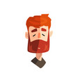 serious redhead bearded man with closed eyes male vector image vector image