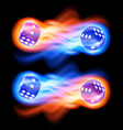 set of two blue dices in fire vector image