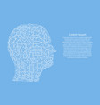 silhouette of male head on the side cyber mind vector image vector image