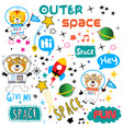 space pattern animal cartoon vector image
