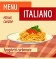 spaghetti carbonara concept background cartoon vector image