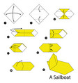 step instructions how to make origami a sailboat vector image vector image