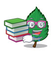 student with book mint leaves mascot cartoon vector image vector image
